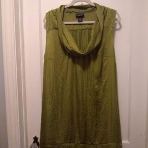 Olive green sleeveless tunic top plus size